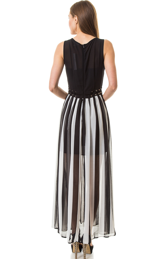 Black and White Vertical Stripe Maxi Dress