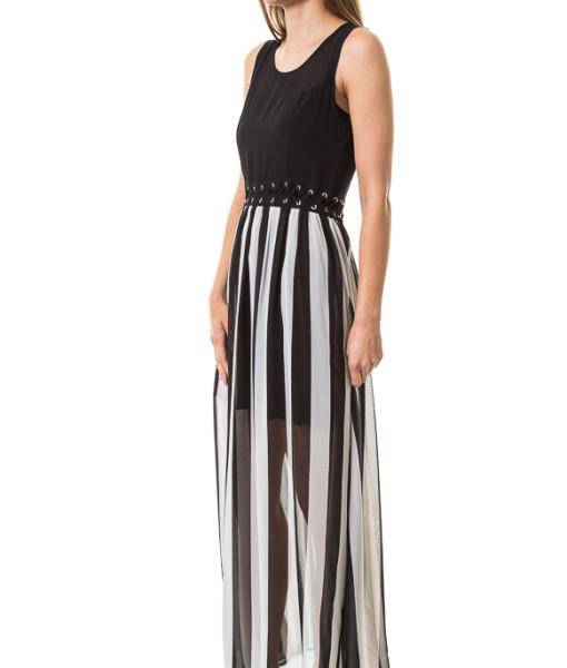 black and white vertical stripe maxi dress private spy store